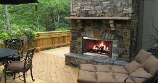 outdoor gas patio fireplace natural stone mantel wood burning