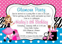 Sweet 16 Birthday Invitation Cards Printable Birthday Invitations Girls Glamor Beauty Party