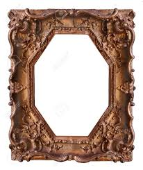 wooden frame with beautiful carving stock photo picture and