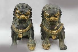 foo lion statue 8 folk bronze gild lucky excellent lifelike foo dogs
