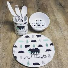 personalised melamine kids dinner set bowl plate mug u0026 cutlery