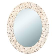 White Framed Oval Bathroom Mirror - deco mirror 25 in x 31 in travertine mosaic oval mirror 8668
