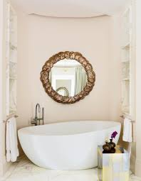 pale pink coastal paint colors for bathroom with white bathtub and
