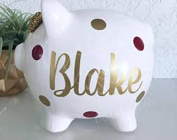 personalized silver piggy bank large gold name personalized piggy bank custom made for a