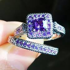 white gold and purple wedding 2pcs size 6 9 bohemia fashion 14k white gold filled purple cz