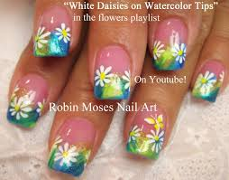 easy daisy spring nails pastel flower nail art design tutorial