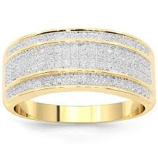 mens yellow gold wedding bands 10k yellow solid gold mens diamond wedding band 0 38 ctw