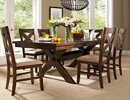 Solid Oak Dining Table And 6 Chairs Roundhill Furniture Karven 7 Solid Wood Dining