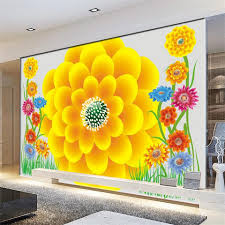 compare prices on yellow wall murals online shopping buy low custom photo non woven mural 3d wallpapers for living room romantic flower yellow red painting
