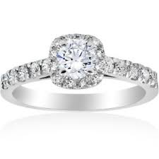 cushion solitaire engagement rings 1 ct cushion halo solitaire engagement ring 14k