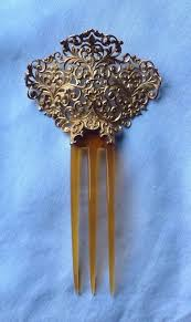 antique hair combs antique 14k gold large floral motif horn hair comb pin