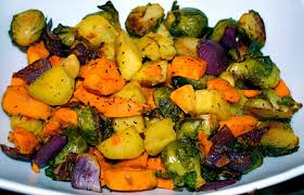 thanksgiving side roasted sweet potatoes yams and brussels