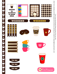 coffee planner stickers printable free coffee cups mugs planner stickers for erin condren life planner