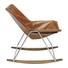 Rocking Chair Runner Leather Rocking Chair In Brandy Colour G1 Maisons Du Monde