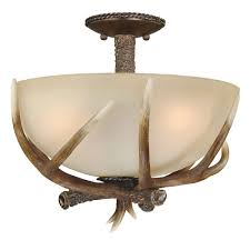 Flush To Ceiling Light Fixtures Cast Antler Semi Flush Ceiling Light 16 Inch