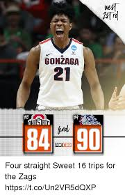 Sweet 16 Meme - gonzaga 8490 foxicbb four straight sweet 16 trips for the zags