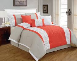 King Sized Bed Set 7 Pieces Luxury Coral Orange Grey And White Quilted