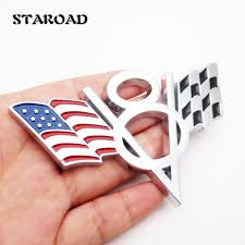 chevrolet car logo staroad 10pcs wholesale 3d metal v8 racing flag car emblem badge
