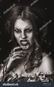 beautiful young woman vampire halloween stock photo 331311203