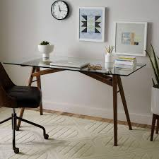 wood desk with glass top glass top desks bring style into the workspace