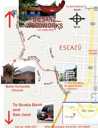 Map Of San Jose Costa Rica by Map To Our Showroom In San Jose Costa Rica Biesanz Woodworks