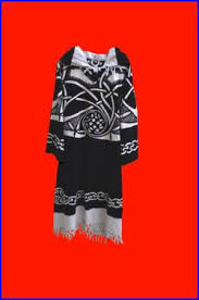ritual cloak boho tribal maxi tunic black white high fashion celtic knots