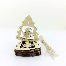 happy winter hanging wooden ski ornaments in pendant drop