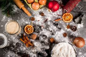 christmas new year holiday cooking background ingredients