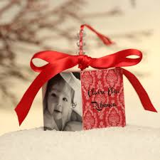 red baby u0027s first christmas personlized photo block ornament gift