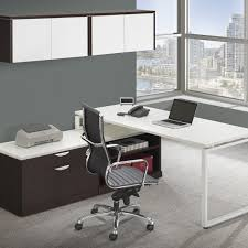 L Shaped Contemporary Desk Modern L Shaped Station Desk With Laminate Door Wall Mount Hutch