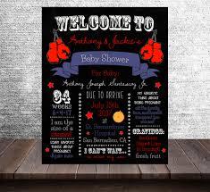 baby shower chalkboard boxing theme baby shower chalkboard 20x30 poster blue boy