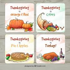 watercolor thanksgiving cards vector free