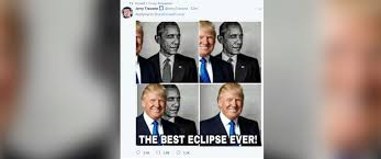 Best Obama Meme - trump retweets meme of his blocking obama labeled the best eclipse
