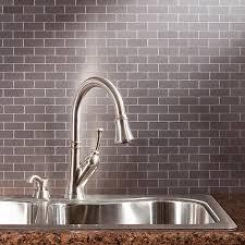 simple kitchen ideas with gray metal peel stick metal tiles