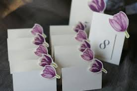 mix of purple tulips place card gift card table number card