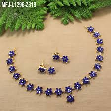 sapphire necklace set images Blue sapphire stones flowers design gold plated finish necklace jpg
