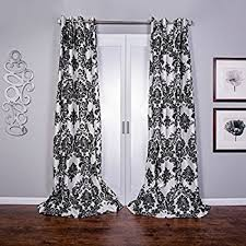 Damask Kitchen Curtains by Amazon Com Black And White Damask Curtain Panel Set Of 2 40x84