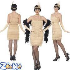 womens 1920s gold flapper fancy dress costume gold great gatsby