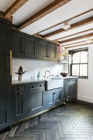 Kitchen Tiling Ideas Backsplash Herringbone Wood Flooring Gray Cabinets Mable Countertop And