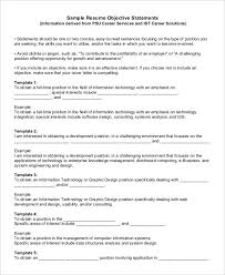 Business Objects Resume Sample by Generic Resume Template 9 Generic Business Objectives For Resume