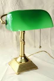 green glass shade bankers l vintage solid brass desk light bankers l w emerald green antique