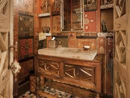 rustic style old world bathroom design with artistic wall art and