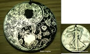 engraved yin yang floral butterfly coin by shaun750 on deviantart