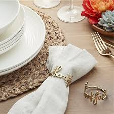 crate and barrel napkins thankful napkin ring thanksgiving table decoration ideas