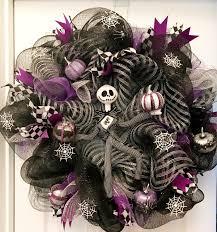 jack skellington wreath halloween spiders custom purple