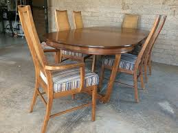 stanley mid century dining table with 6 cane back chairs and 2 leaves