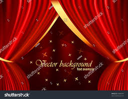 Curtain Place Red Velvet Curtain Gold Ornaments Stars Stock Vector 60888748