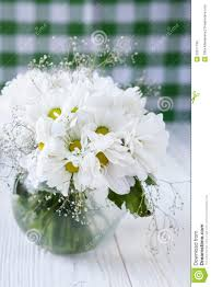 Kitchen Table Close Up Bouquet Of White Flowers On The Kitchen Table Royalty Free Stock