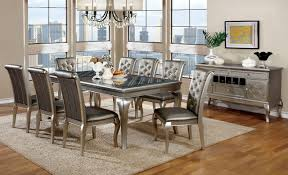 furniture of america cm3219t champagne dining table set