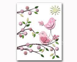 Bird Decor For Nursery Children Room Decor Baby Room Decor Pink Bird Decor Room